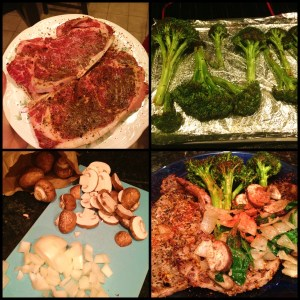 Marinate Steak.  Bake Broccoli.  Slice onions and mushrooms.  Enjoy!