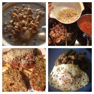 Blueberry banana steel cut oats with chopped pecans, bacon chicken with brown rice pasta and garlic marinara, almond crusted turkey cutlets with gf pasta, and leftover creamy crumbled sausage with fried egg - recipes may appear on the blog on a later date :)